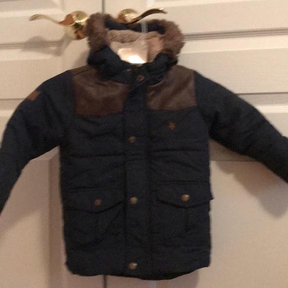 d7dc5a7c4 minoti Jackets & Coats   Navy Brown Leather Trim Puffer Jacket ...